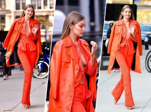 Gigi Hadid:  qui valide son total look orange ?