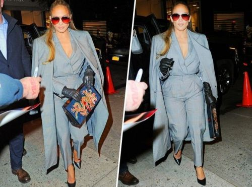 Jennifer Lopez:  on craque pour son total look gris et on le copie en moins cher !