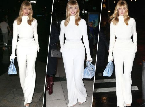 Rosie Huntington-Whiteley:  total look blanc. On craque totalement !