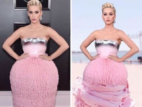 PHOTOS. Grammy Awards 2019:  quand Katy Perry se moque de sa propre tenue