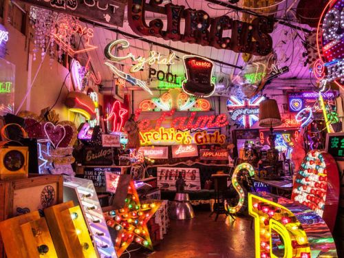 A Cafe Entirely Decorated with Neons